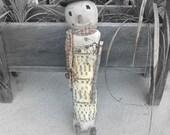 Primitive Christmas Rag Stuffed Winter Months Snowman