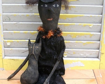 Primitive Halloween Long Nose Witch With Cat-