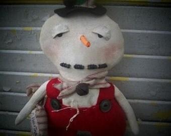 Primitive Christmas Snowman Peppermint Snow