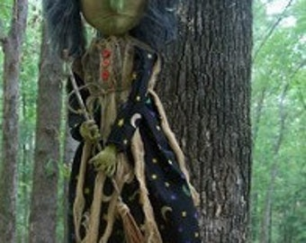 Primitive Halloween Espella Witch Doll With Broom