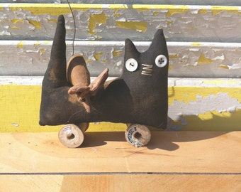 Primitive Doll  Americana Cat Pull Toy