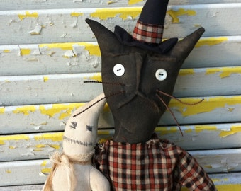 Primitive Halloween Witch Cat Miss Scaredy and her Pet Boo