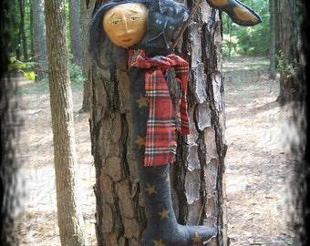 Primitive Halloween Witch Stocking