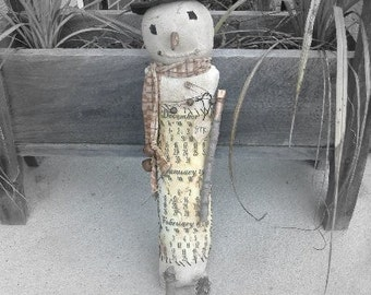 Primitive Christmas Rag Stuffed Winter Months Snowman