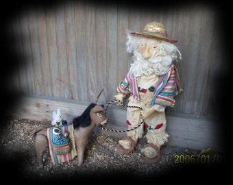 Primitive Santa Pedro and His Donkey Poncho- Made to order