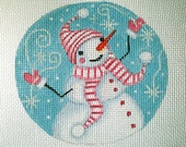 Handpainted Snowman, and Snowflakes needlepoint canvas
