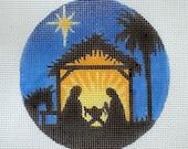 Handpainted Nativity Scene Needlepoint Canvas