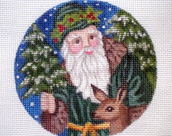 Handpainted Needlepoint canvas Santa in green with Doe