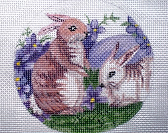 Hand Painted Bunnies,Violets and Easter Egg Needlepoint canvas