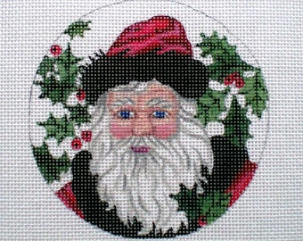 Handpainted Santa with red hat and black fur trim needlepoint canvas