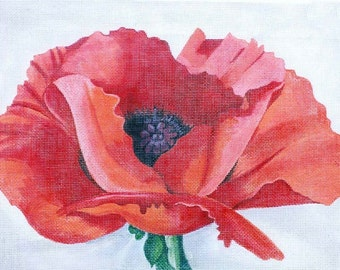 Handpainted Orange Poppy Needlepoint canvas
