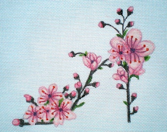 Handpainted Cherry Blossom Slipper Needlepoint canvas
