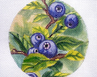 Handpainted Needlepoint Canvas Blueberries