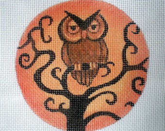 Hand Painted Needlepoint Canvas Owl and Corkscrew Tree