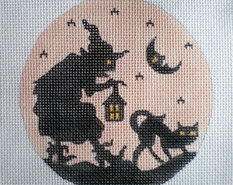 Handpainted Needlepoint Canvas Silhouette Witch and Cat