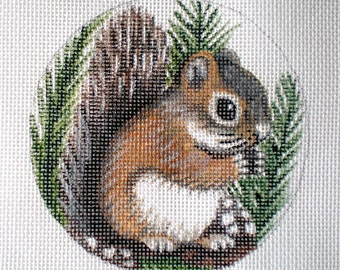Handpainted Needlepoint Canvas Baby Squirrel