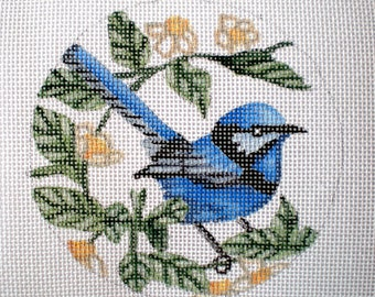 Handpainted Bluejay needlepoint canvas