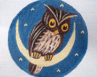 """Handpainted Needlepoint canvas 4"""" The Owl And the Moon on 18ct."""