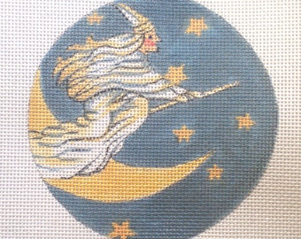Handpainted needlepoint canvas Witch's Flight