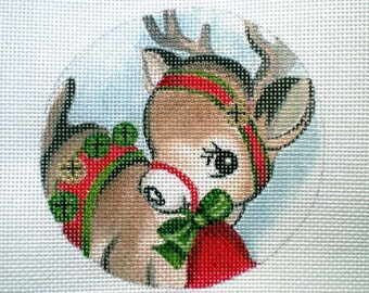 Handpainted Needlepoint canvas Baby Reindeer