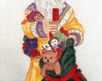 Handpainted Old World Santa with Candle needlepoint canvas