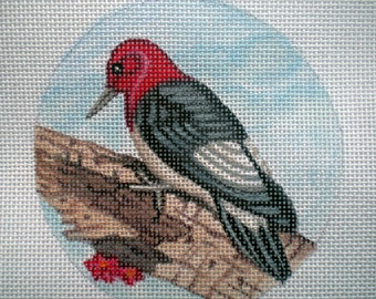 Handpainted Red Headed Woodpecker needlepoint canvas