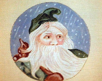 Handpainted needlepoint canvas Vintage Santa with a green hood