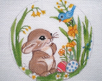 Handpainted Needlepoint Canvas Baby Bunny and Bluebird