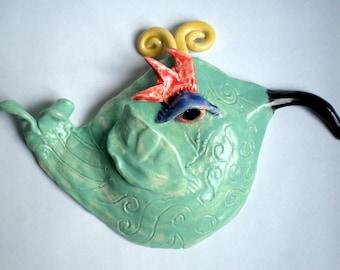 Hand sculpted Whimsical Ceramic Hummingbird