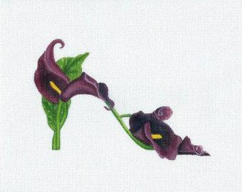 Handpainted Needlepoint canvas Black Calla Lily Slipper