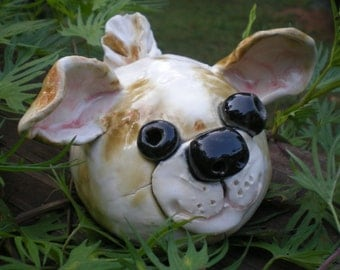 Hand Sculpted Lt Brown and White Clay Garden Puppy