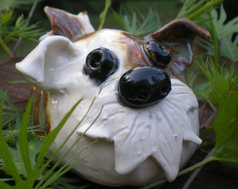 Hand Sculpted Clay Brown and White bearded Garden Puppy