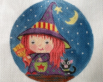 Handpainted Needlepoint Canvas Littliest Witch