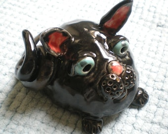 Hand Sculpted ceramic Black Kitty