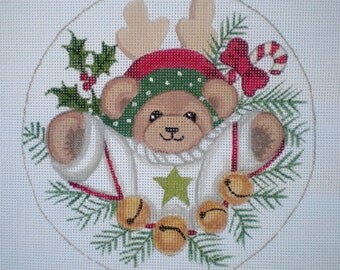 Handpainted needlepoint canvas Bear with Bells Ornament