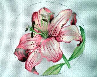 Handpainted Needlepoint Canvas Pink Stargazer Lily