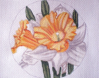 Handpainted Daffodil needlepoint canvas