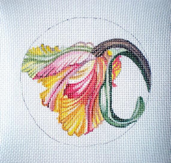 Handpainted Parrot Tulip needlepoint canvas