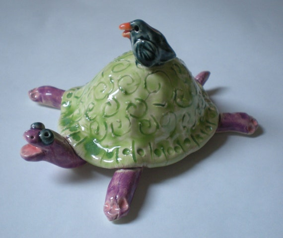 Hand sculpted Lime Green Ceramic Turtle and Bluebird