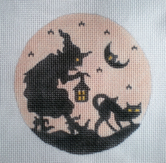 Handpainted Silhouette Witch and Cat Needlepoint Canvas