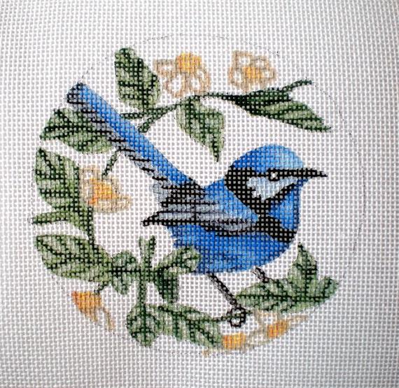 Handpainted Bluejay needlepoint canvas