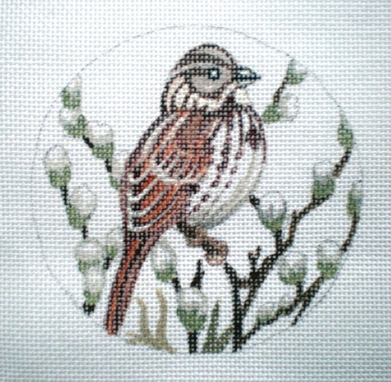Handpainted Song Sparrow Needlepoint Canvas