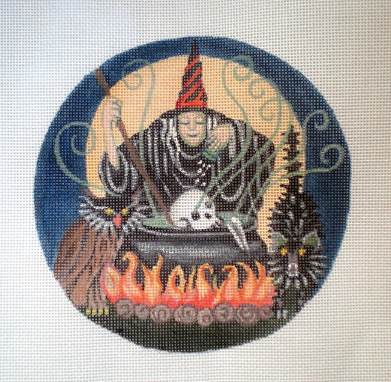 Handpainted New Special Witch's Brew Needlepoint Canvas