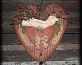 Primitive Valentine Lace Heart Dove Door Hanger E-PATTERN