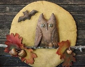 Primitive Halloween Owl Fall Leaves Moon Door Hanger E Pattern