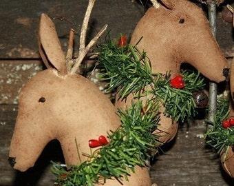 Primitive Christmas Hobby Horse Reindeer Ornies Digital PDF Pattern