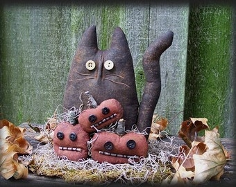 Primitive Black Cat and Pumpkins Doll E-PATTERN