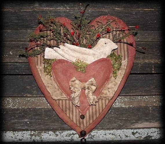 Primitive Valentine Vintage Heart Dove Door Hanger E-PATTERN