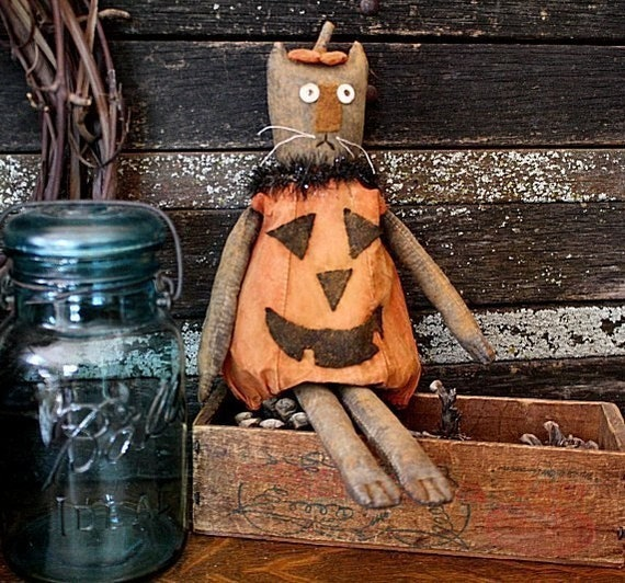 Primitive Halloween Pumpkin Cat Doll E-PATTERN