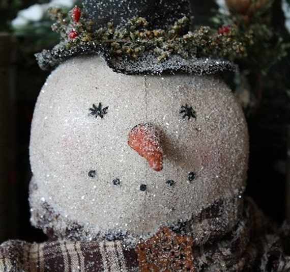 Primtive Frosty Snowman Head Make Do E-PATTERN